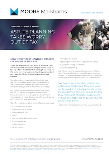 Tax Planning Publication Moore Markhams